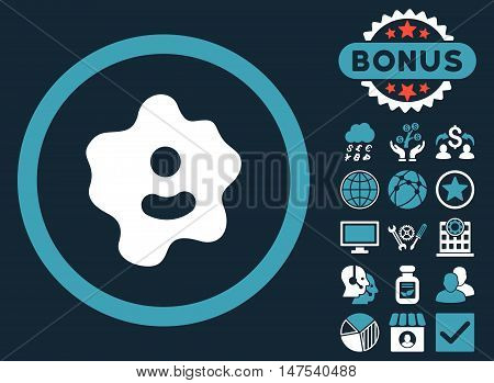 Ameba icon with bonus elements. Vector illustration style is flat iconic bicolor symbols, blue and white colors, dark blue background. poster