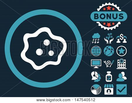 Amoeba icon with bonus symbols. Vector illustration style is flat iconic bicolor symbols, blue and white colors, dark blue background.