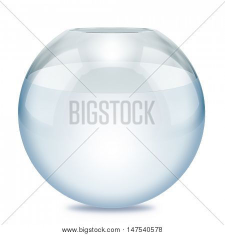 Glass fish bowl filled with water isolated on white background. 3D rendering.