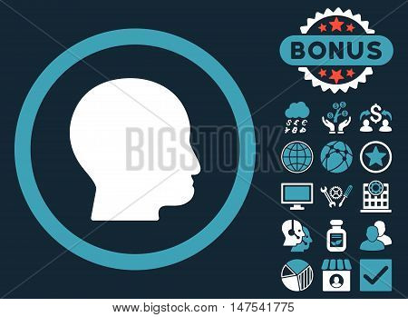 Bald Head icon with bonus pictogram. Vector illustration style is flat iconic bicolor symbols, blue and white colors, dark blue background.