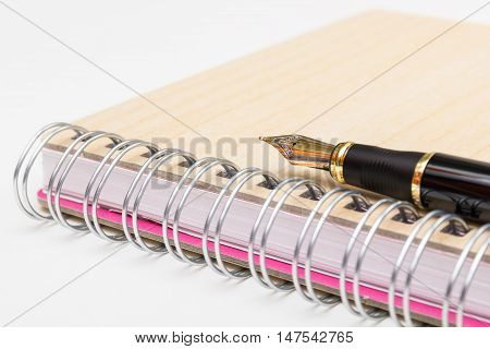 Photo of golden ink pen on notebook