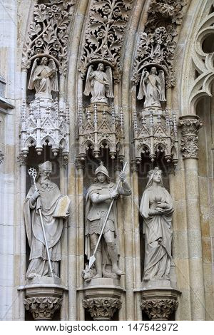 Statues at the Facade of Zagreb's Cathedral of the Assumption of the Blessed Virgin Mary Zagreb Croatia