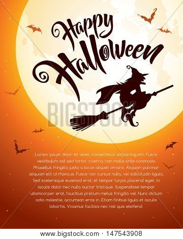Happy Halloween! Witch fly over the moon.