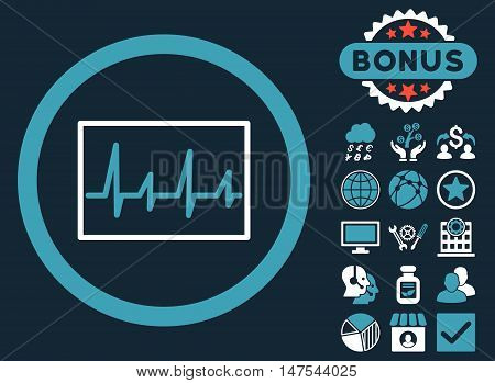 Cardiogram icon with bonus symbols. Vector illustration style is flat iconic bicolor symbols, blue and white colors, dark blue background.