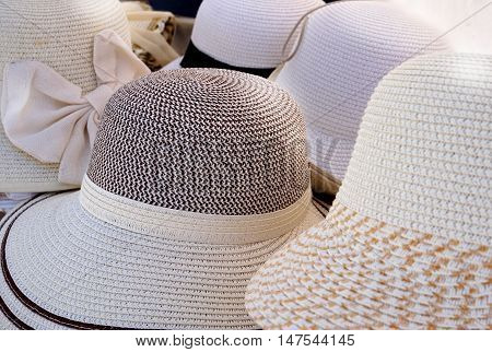 Stylish Ladies Straw Hats Mostly White With Black And Cream