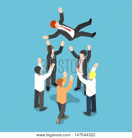 Isometric Businessman Being Throw Up In The Air By His Team