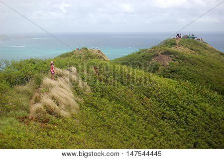 The Lanikai Pillbox Hike, also known as the Kaiwa Ridge Trail , Kailua, Oahu, Hawaii
