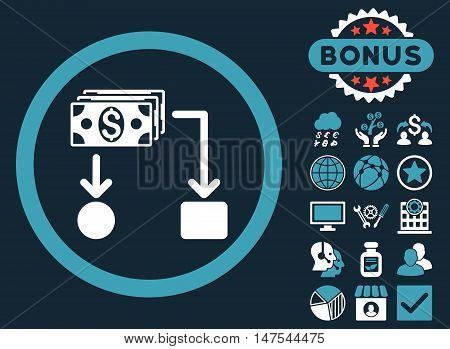 Cashflow icon with bonus elements. Vector illustration style is flat iconic bicolor symbols, blue and white colors, dark blue background.