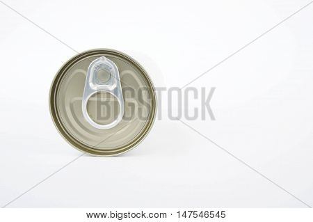 The pop-top lid cans on white background Packaging cans Tin can easy open ends for beverage and food packaging Tin containers chemicals.