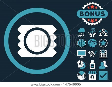 Condom icon with bonus pictogram. Vector illustration style is flat iconic bicolor symbols, blue and white colors, dark blue background.