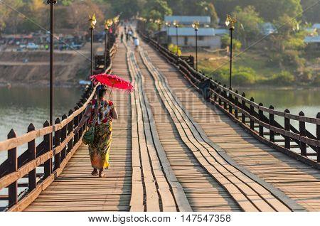 The longest wooden bridge in western region of Thailand. Sangkhla Buri
