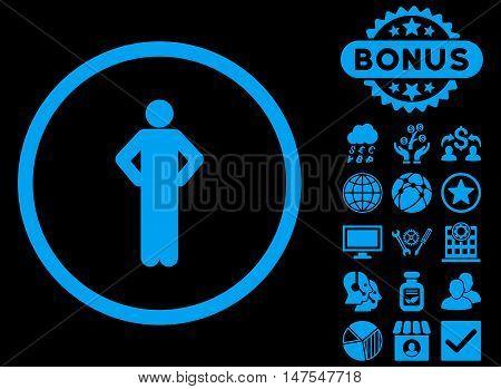 Akimbo icon with bonus elements. Vector illustration style is flat iconic symbols, blue color, black background.