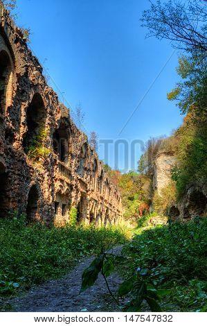Ruins of ancient fort Tarakanov Dubno district Rivne region Ukraine.