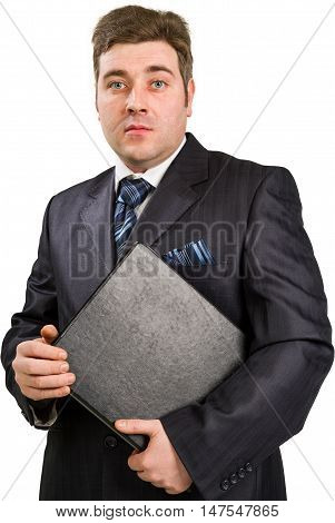 Portrait of happy smiling businessman with folder isolated on white background