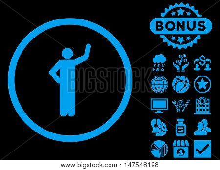 Assurance icon with bonus pictogram. Vector illustration style is flat iconic symbols, blue color, black background.