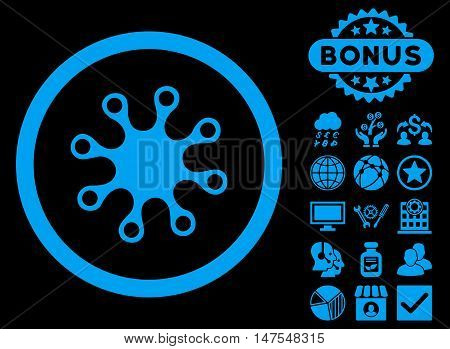 Axenic icon with bonus design elements. Vector illustration style is flat iconic symbols, blue color, black background. poster