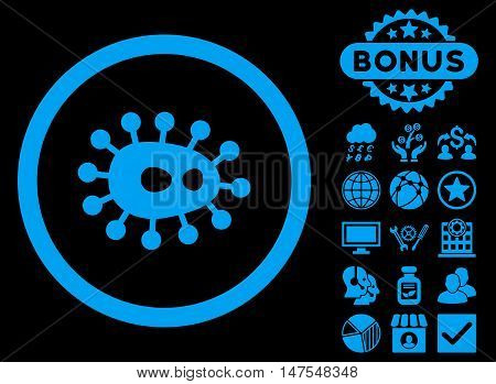 Bacilla icon with bonus pictures. Vector illustration style is flat iconic symbols, blue color, black background. poster