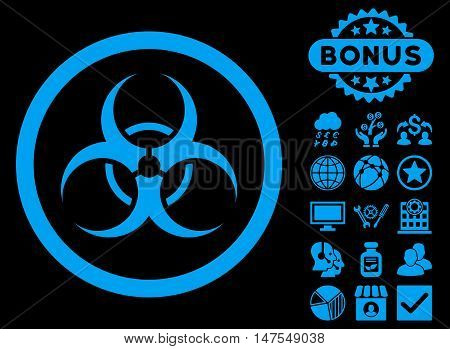 Biohazard Symbol icon with bonus images. Vector illustration style is flat iconic symbols, blue color, black background.
