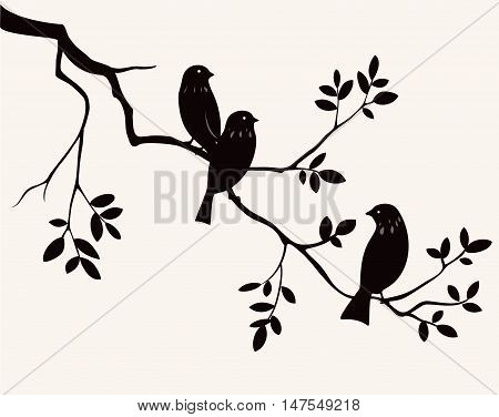 Vector birds on twig silhouette. Decorative branch of tree