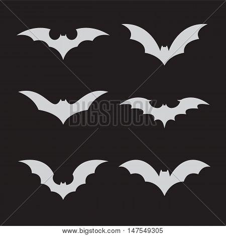 Vector group of bat on black background.