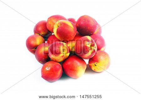 beautiful crop of ripe juicy fruit of a peach
