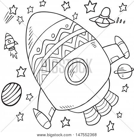 Cute Rocket Doodle Vector Illustration Art