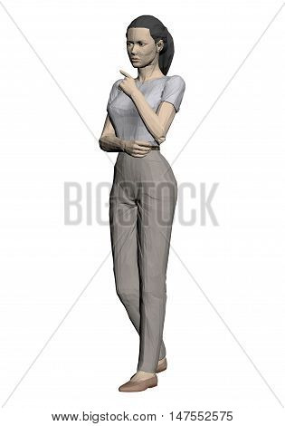 Girl is lost in thought. What is thinking. Vector illustration of 3D polygonal women. EPS 8.