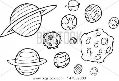 Planet Doodle Vector Illustration Set
