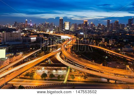 Twilight night view, city road interchanged long exposure, Bangkok Thailand