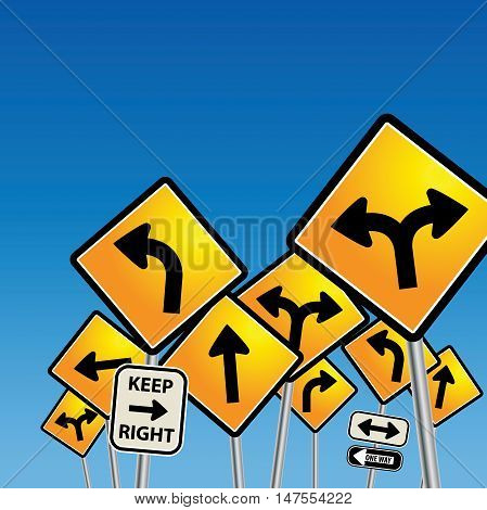 Abstractb Road signs chaos on blue background, vector illustration