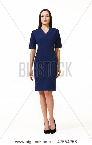 indian business woman with straight hair style in summer formal blue short sleeve dress high heel shoes full body length isolated on white