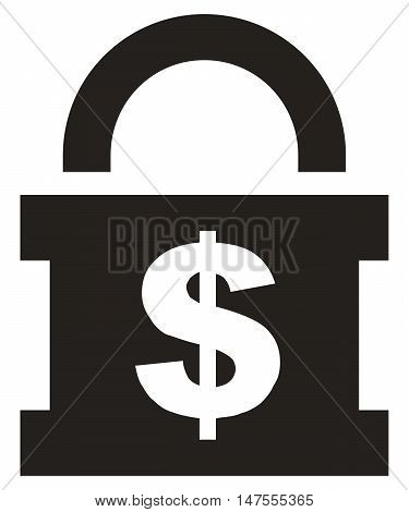 Money Lock Icon currency locking security safety simplicity