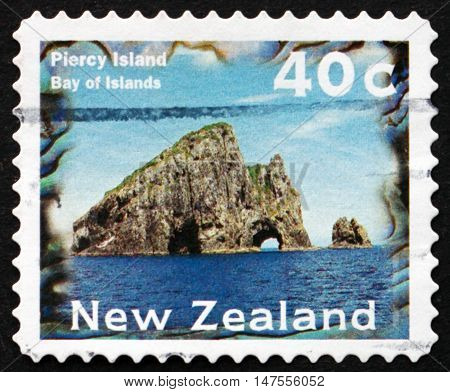 NEW ZEALAND - CIRCA 1996: a stamp printed in New Zealand shows Piercy Island Bay of Islands Scenic View circa 1996