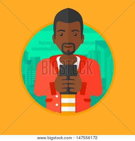 An african-american young businessman using smartphone on a city background. Smiling businessman using smartphone for work. Vector flat design illustration in the circle isolated on background.