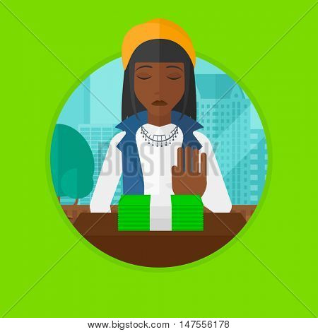 African-american woman sitting in office and moving money away. Woman refusing to take bribe. Woman rejecting an offer of bribe. Vector flat design illustration in the circle isolated on background.