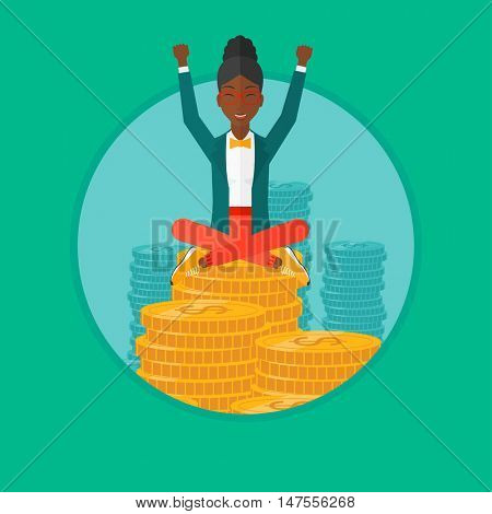 An african-american happy business woman with raised hands sitting on gold coins. Successful business and cheerful leader concept. Vector flat design illustration in the circle isolated on background.