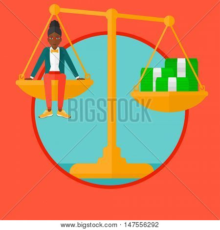An african-american business woman sitting on a balance scale with stacks of money. Business woman balancing on scales with money. Vector flat design illustration in the circle isolated on background.