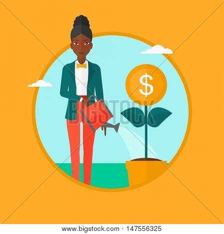 An african-american business woman watering a money flower. Woman taking care of her finances. Concept of successful business. Vector flat design illustration in the circle isolated on background.