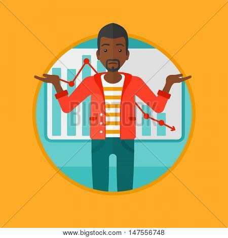 African-american stressed businessman with spread arms standing on a background of decreasing chart. Business bankruptcy concept. Vector flat design illustration in the circle isolated on background.