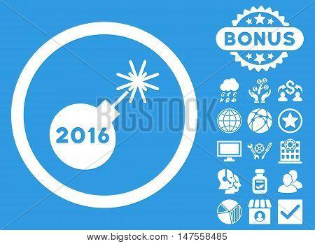 2016 Petard icon with bonus elements. Vector illustration style is flat iconic symbols, white color, blue background.