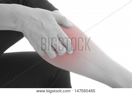 Itching of skin diseases in women using the hand-scratching. Red around the Itching area. Concept with Healthcare And Medicine.