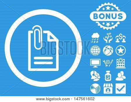 Attach Document icon with bonus pictures. Vector illustration style is flat iconic symbols, white color, blue background.