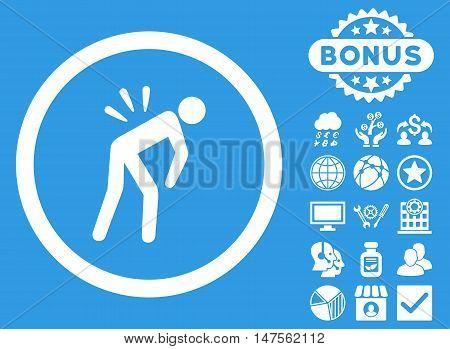 Backache icon with bonus pictogram. Vector illustration style is flat iconic symbols, white color, blue background.