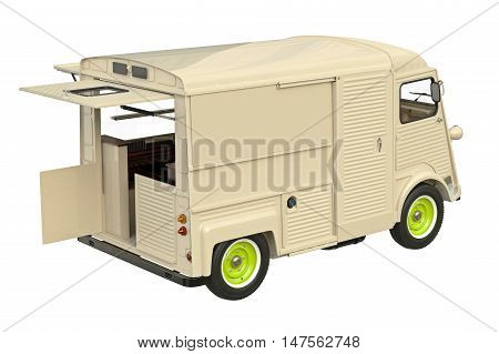 Food truck mobile eatery with open doors. 3D graphic