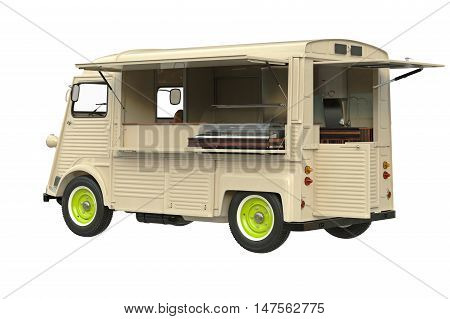 Food truck eatery on wheels retro style. 3D graphic