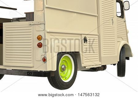 Food truck beige eatery cafe on wheels, close view. 3D graphic