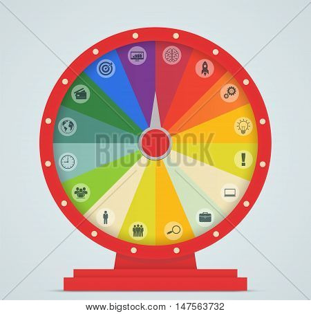 Wheel of Fortune with business icons on blue background.