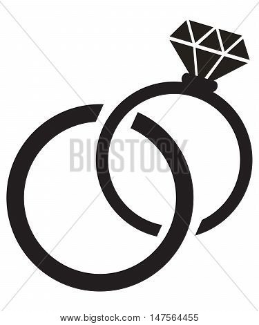 Wedding rings icon groom engagement forever round