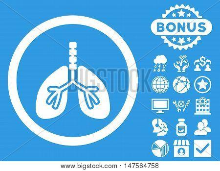 Breathe System icon with bonus pictogram. Vector illustration style is flat iconic symbols, white color, blue background.
