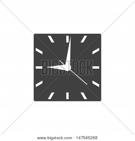 Square clock icon with black clockface isolated on white background